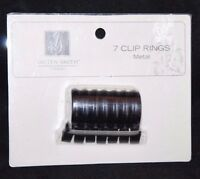 Jaclyn Smith 7 Clip Metal Panel Curtain Rings - Burnished Bronze 1.18 In Dia