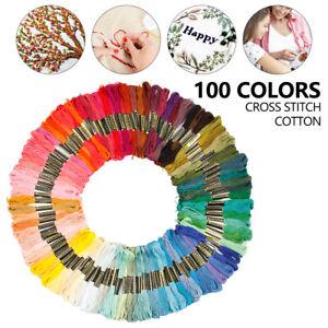 100X Skein Coloured Embroidery Thread Cotton Cross Stitch Braiding Craft Sewing