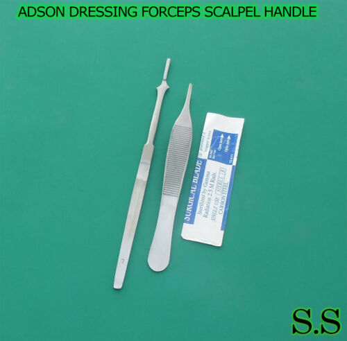 "ADSON DRESSING FORCEPS SERRATED 4.75""+SCALPEL HANDLE #7+5 SURGICAL BLADES #15"