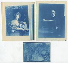 SET OF 3 CYANOTYPES - MISC VINTAGE PORTRAITS/PAINTINGS/SCENES