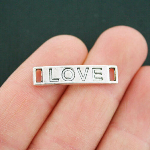 6 Love Connector Charms Antique Silver Tone SC5248