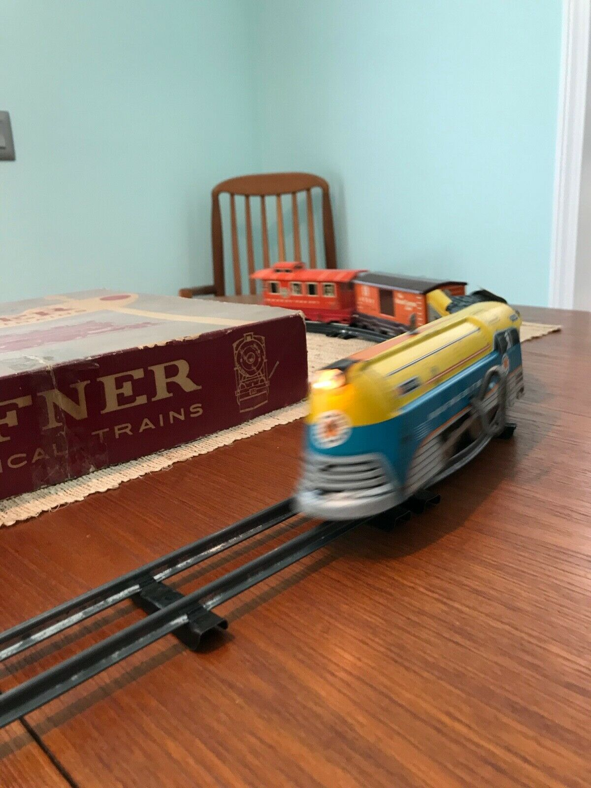 Vintage Hafner Conjunto de tren de relojería con luz alimentado por batería Completo Funciona