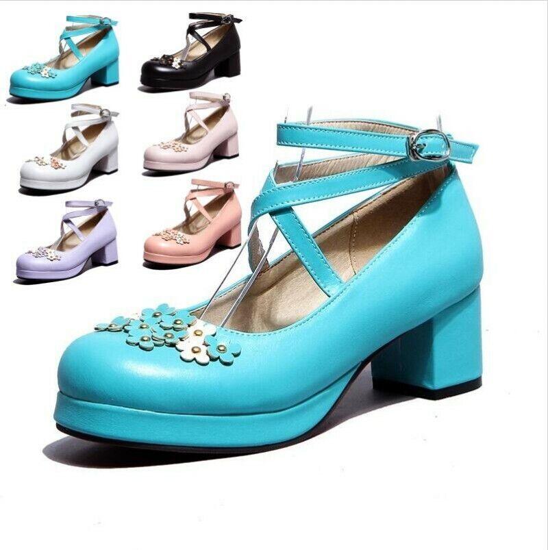 Femme Filles Talon Massif nœud lolita Sweet Mary Janes Cross Strap chaussures Club