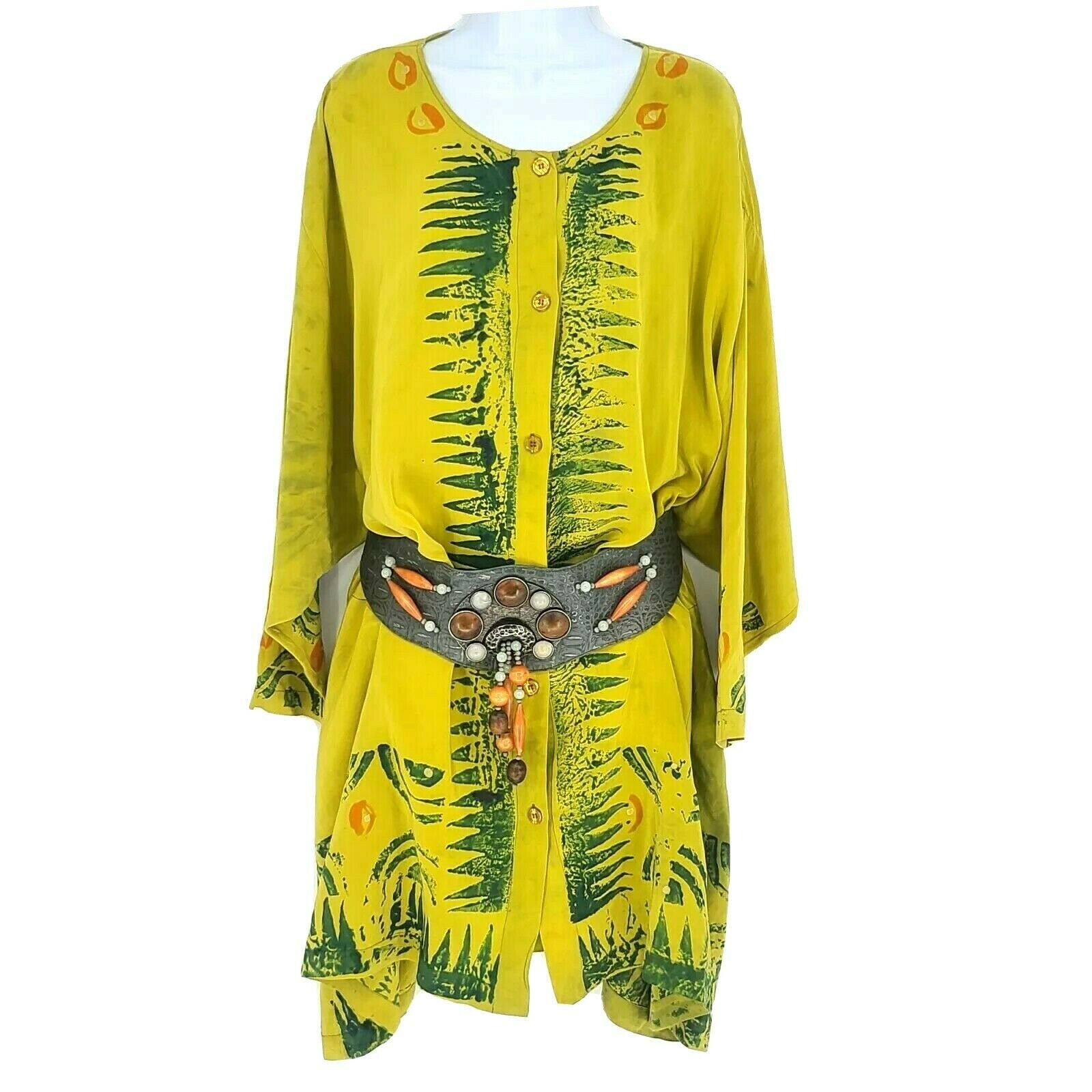Laise Adzer Womens Vintage 1980's Hand Painted Si… - image 1