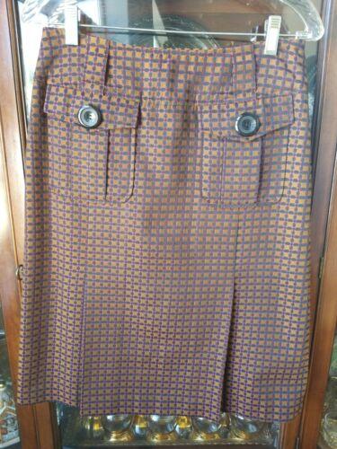 PENDLETON Ladies Pleated Skirt size 6 Gold Wine Na