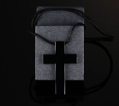 Acier Inoxydable Poli Pendentif Croix /& Cuir Réglable Collier