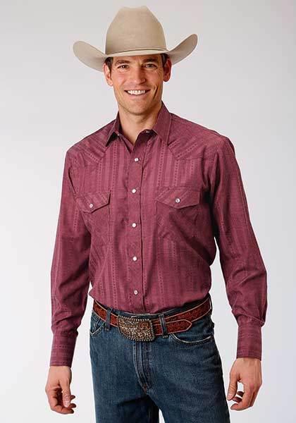 Roper Mens L S Wine Burgandy Striped Dobby Western Show Dress Rodeo Ranch Shirt