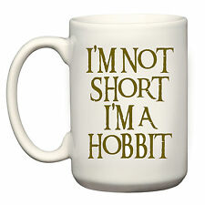"""NEW """"I'M NOT SHORT I'M A HOBBIT"""" GIFT 15oz BIG MUG CUP LORD OF THE RINGS LOTR"""