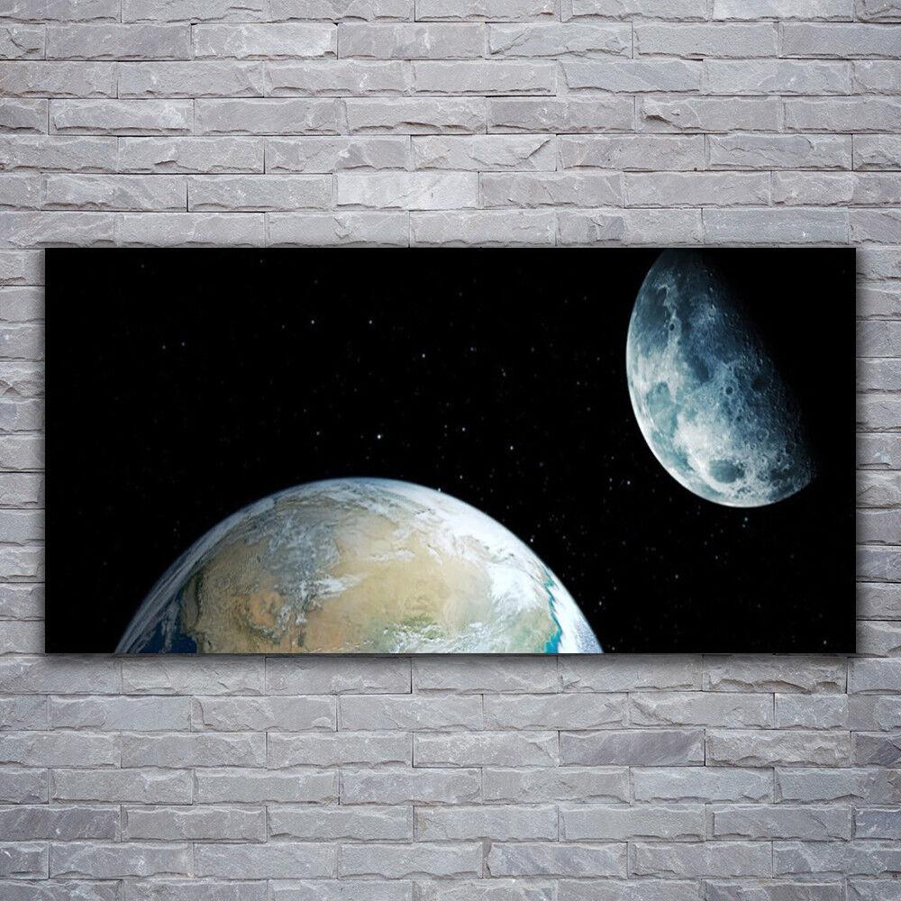 Verre Imprimer Wall Art Image 120x60 Photo Lune Terre Espace Univers