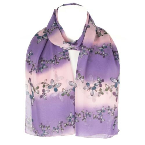 Chiffon Womens Butterfly Print  Scarf Shawl Wrap