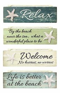 Relax-By-Beach-Welcome-Life-is-Better-Painted-Wood-Block-Sign-Coastal-Design-New