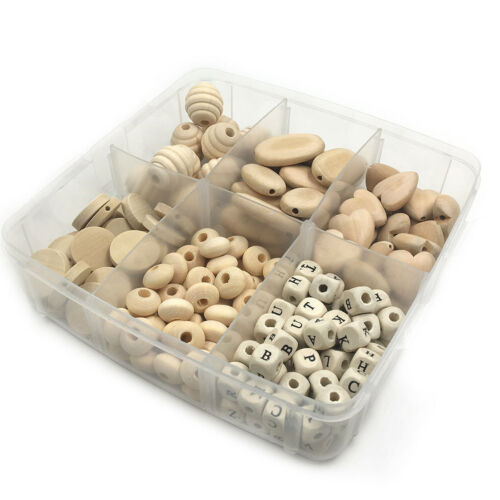 Natural Wood Teething Beads Baby Chew Wooden Jewelry Accessories DIY Teether Kit