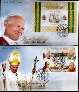 Philippines-2011-Pope-John-Paul-II-BEATIFICATION-4-values-S-S-on-2-FDC