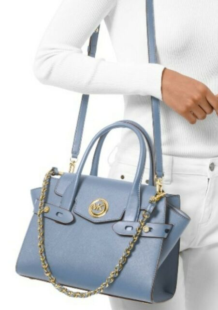 Michael Kors Carmen Small Flap Belted Pale Blue Leather Satchel