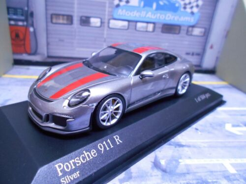 Porsche 911 991 R 2016 Coupe plata con rayas rojas Minichamps Limited 1:43