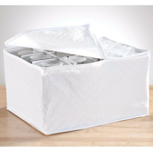 Wine Glassware Storage White Zippered Quilted Vinyl Chest Cushion Protection
