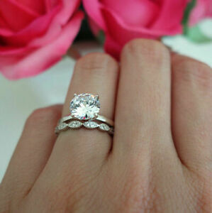 Antique-2-20Ct-Moissanite-Diamond-Solid-14K-White-Gold-Engagement-Bridal-Ring