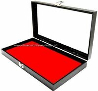 1 Key Lock Red Pad Display Box Case Militaria Medals Pins Jewelry Awards Knife