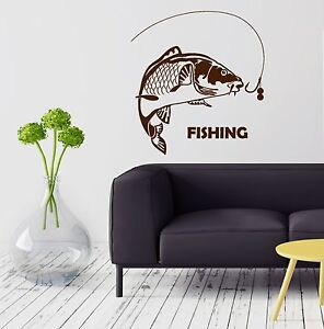 g3739 Vinyl Wall Decal Gone Fishing Rod Fish Hobby Man Decor Stickers Mural