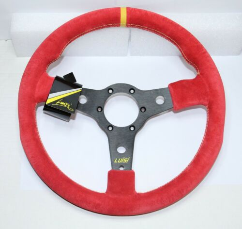 """SPORT VOLANT 350 mm 13.8/"""" rouge daim LUISI racing Corsa MADE IN ITALY"""