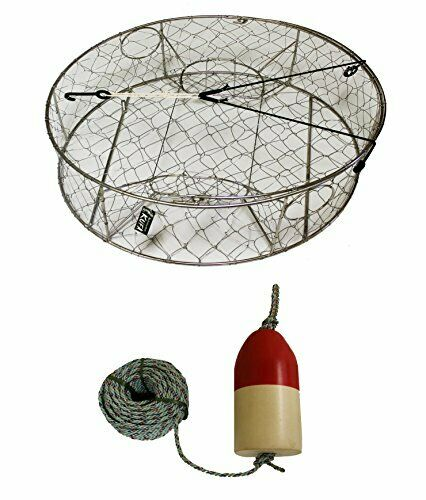 KUFA Stainless Steel Round Crab Trap 5 16  X 100' Lead Rope and 6 X14  Float