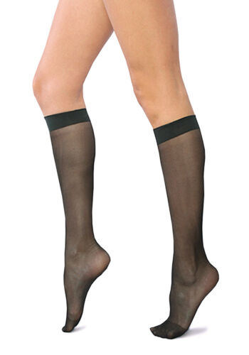 2 Pairs COMFORT 20 Denier Sheer Knee Highs Pop Socks Elastane Comfortable Welt