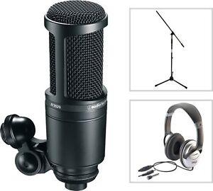 Audio-Technica-AT-2020-Studio-Kondensator-Mikrofon-SET-mit-Kopfhoerer-Stativ