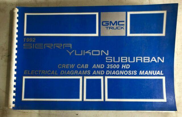 1992 Gmc Electrical Wiring Diagram Service Manual Sierra
