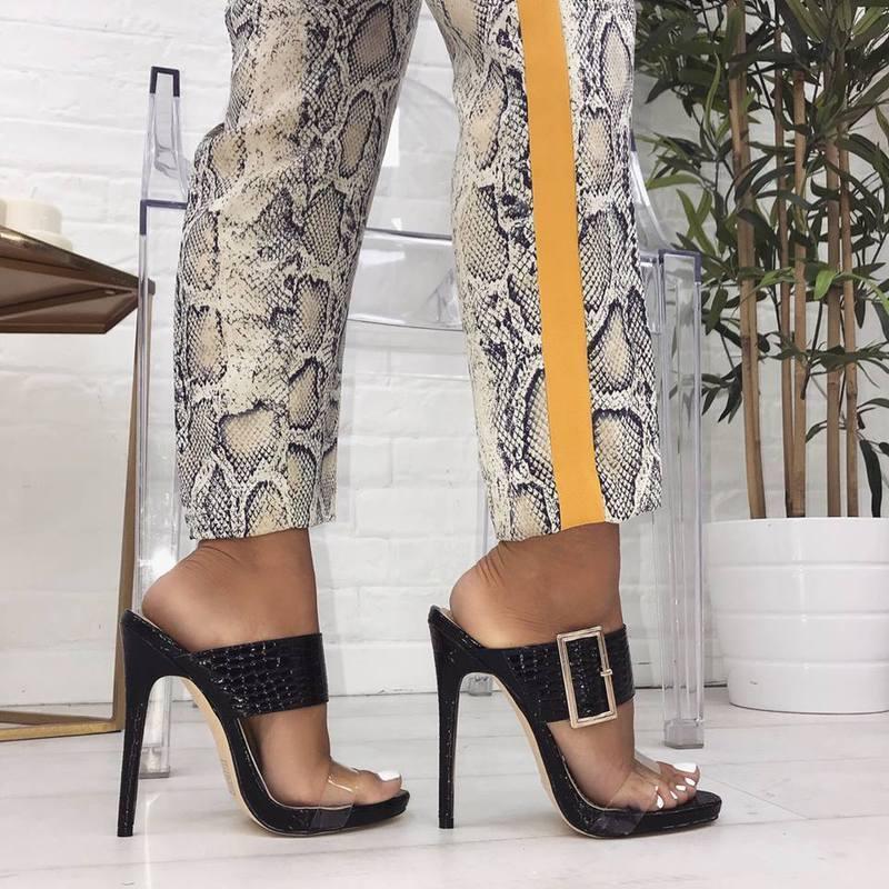 Sandali stiletto 12 12 12 cm ciabatte sabot negro spillo simil pelle eleganti 1598  opciones a bajo precio