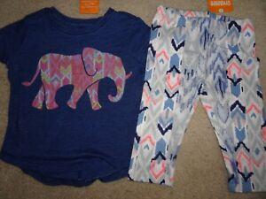 NEW GYMBOREE SUNWASHED DAYS LOT SET ELEPHANT TEE TOP IKAT CAPRI LEGGINGS PANT