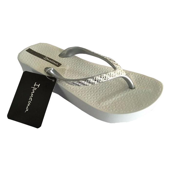 IPANEMA womens flip flops MESH PLAT white silver wedge cm 3.5 MADE IN BRAZIL