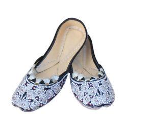 Women-Shoes-Indian-Traditional-Mojari-Leather-Ballet-Flat-Jutties-UK-3-5-EU-36