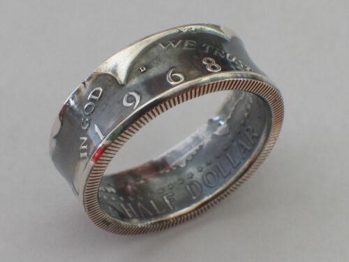 Münzring USA Kennedy half Dollar 1969 Silber 400er Ring Münze 1//2 $ Münzringe