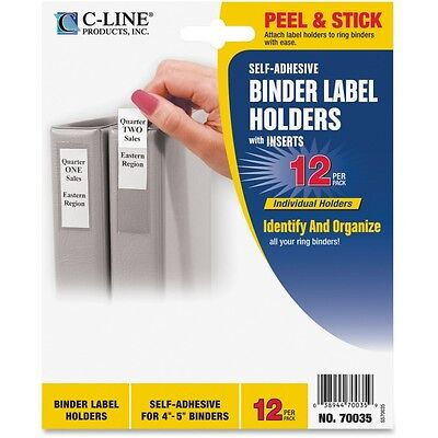 Clr CLine SelfAdhesive Ring Binder Label Holders 12//Pack 2 1//4 x 3 Top Load