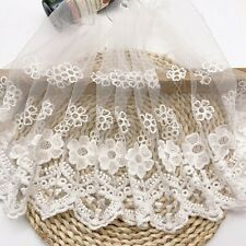 14 yards  VTG Style Embroidery scalloped Fabric Tulle Mesh Net Lace Trim 1.3 cm wide #002