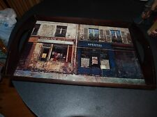 CHARMING CERAMIC TILE TRAY SIX FRENCH SCENES  PAINTINGS WOOD FRAME  20 BY 13
