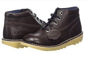 Boots Leather Hi da scuola 37 w 4 Kick Boys Girls Novità Brown Kickers Scarpe Mens Dark Ewt65qFtB