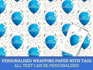 Personnalise-Bleu-rubane-ballon-anniversaire-PAPIER-CADEAU-Papier-Cadeau
