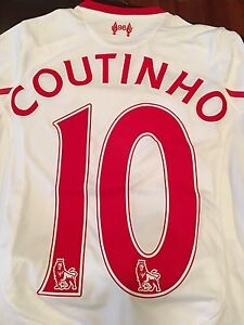 quality design 0a87c cf4de Details about New Balance 2015-16 Liverpool FC Coutinho #10 Away Kit, Size  Youth Small