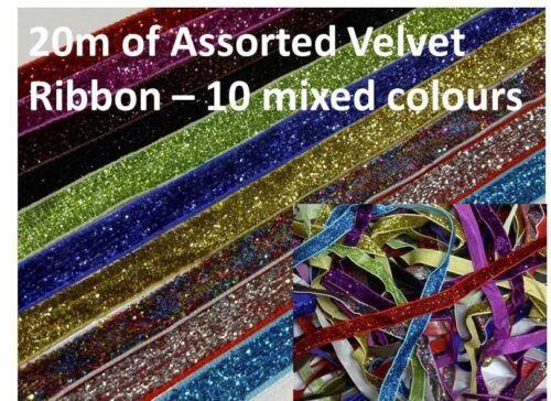 20m x10mm asstd MIXED Bright Velvet Ribbon Wedding Trim Ribbon CRAFT Card making