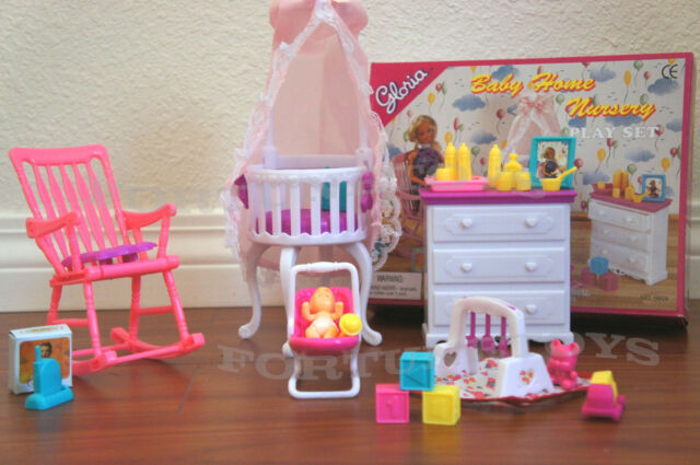 7 Inspiring Kid Room Color Options For Your Little Ones: Gloria Doll House Furniture Baby Home Nursery Canopy Crib