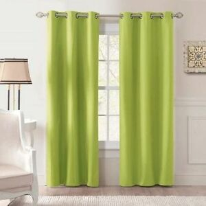 2 Pc Blackout Thermal Grommet Lime Green Window Curtain Soft Panel Micro Foam Ebay