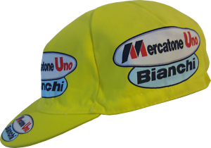 Cycling Cap Bianchi Mercatone Uno 100/% Cotton yellow posted in one day