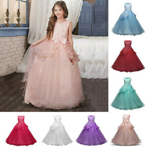 Kids-Girls-Princess-Floral-Dress-Party-Wedding-Bridesmaid-Formal-Gown-Long-Dress