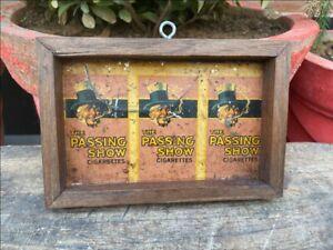 Vintage Old Wooden Passing Show Cigarette Tin sign board Framed