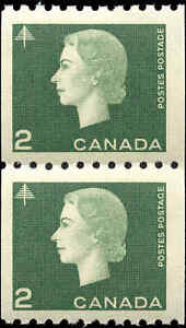 Canada-Mint-1963-F-VF-Pair-Scott-406-2c-Cameo-Coil-Stamps-Never-Hinged