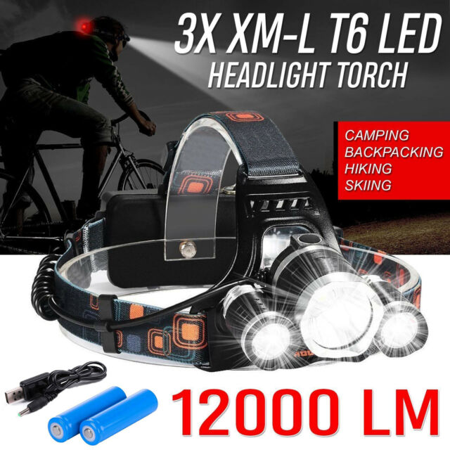 12000LM 3 x XML CREE T6 LED Rechargeable Head Torch Headlamp HeadLight Lamp Hot