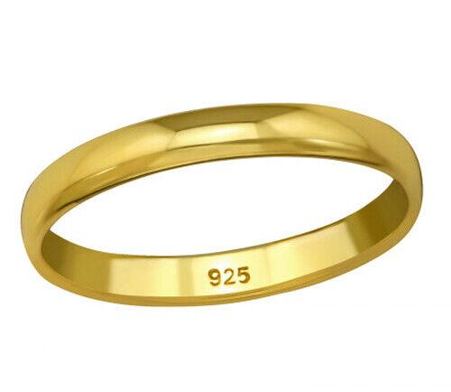 925 ECHT SILBER GOLD PLATTIERT *** Schmaler Ring Ehering Trauring 3mm vergoldet