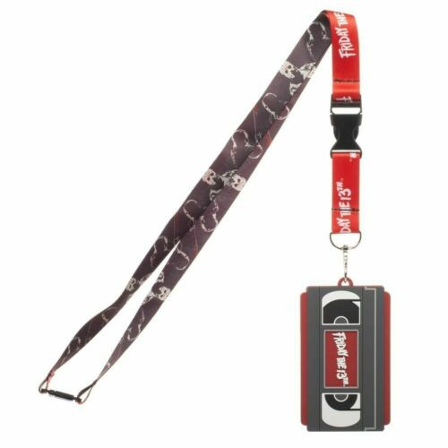 OFFICIAL FRIDAY THE 13TH VHS TAPE JASON VOORHEES PRINT RED ID SLEEVE LANYARD