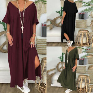 UK-Womens-Short-Sleeve-V-Neck-Casual-Loose-Long-Dress-Baggy-Kaftan-Maxi-Dresses